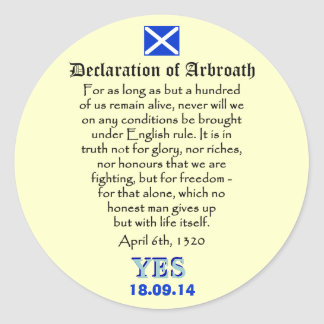 Declaration of Arbroath Scottish Independence Classic Round Sticker