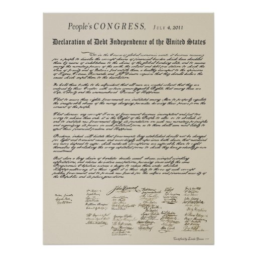 Versatile image with printable copy of the declaration of independence