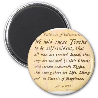Declaration of Independence 6 Cm Round Magnet