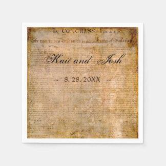 Declaration of Independence USA 1776 Wedding Disposable Serviette