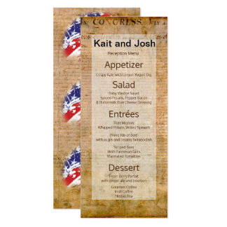 Declaration of Independence USA Patriotic Menu Card