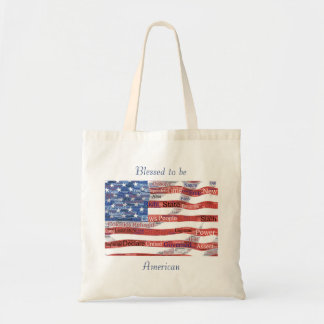 Declaration of Independence Word Cloud on Flag Tote Bag
