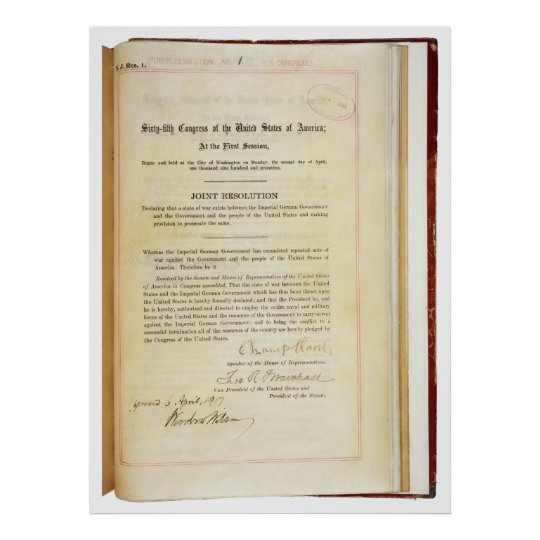 Declaration of War against Germany April 5 1917 Poster
