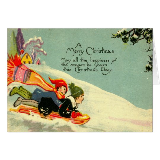 "Deco ""A Merry Christmas"" Children Sledding Card"