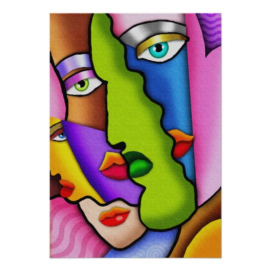 Deco Abstract Beautiful Faces Poster