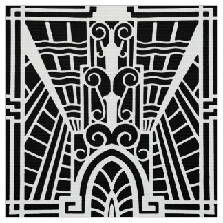 Deco Architectural Pattern, Black and White Fabric