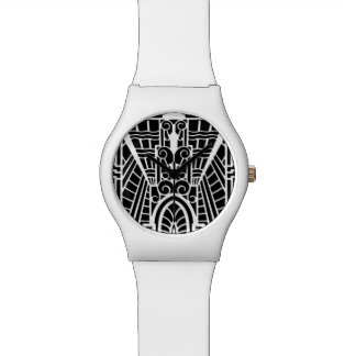 Deco Architectural Pattern, Black and White Wristwatch