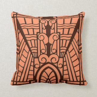 Deco Architectural Pattern, Copper and Brown Cushion