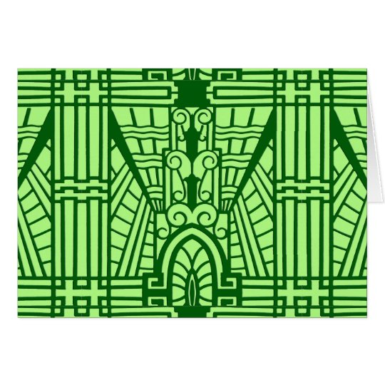 Deco Architectural Pattern, Light Jade Green Card