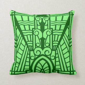 Deco Architectural Pattern, Light Jade Green Cushion