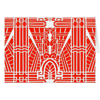 Deco Architectural Pattern, Mandarin Orange Card