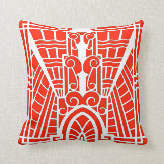 Deco Architectural Pattern, Mandarin Orange Cushion