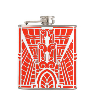 Deco Architectural Pattern, Mandarin Orange Hip Flask