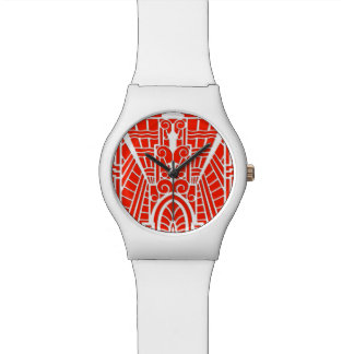 Deco Architectural Pattern, Mandarin Orange Watch