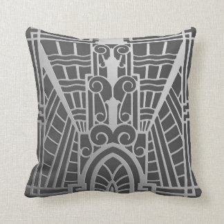 Deco Architectural Pattern, Silver Gray / Grey Cushion