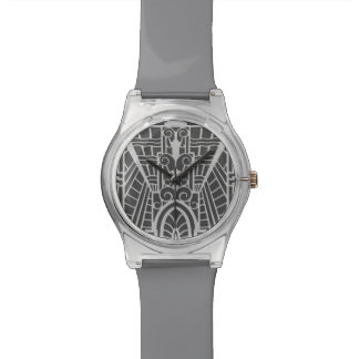 Deco Architectural Pattern, Silver Gray / Grey Watches