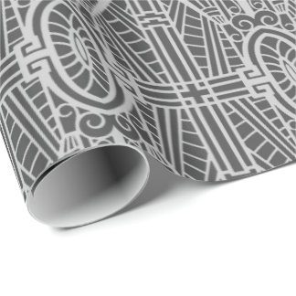 Deco Architectural Pattern, Silver Gray / Grey Wrapping Paper