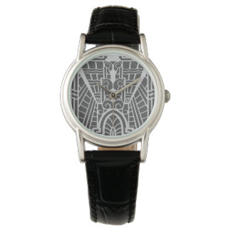Deco Architectural Pattern, Silver Gray / Grey Wrist Watch