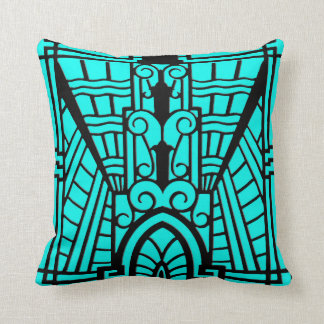 Deco Architectural Pattern, Turquoise and Black Cushion