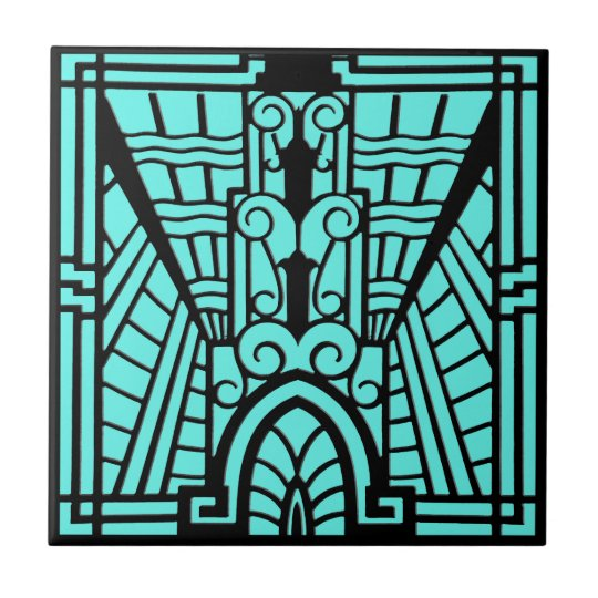 Deco Architectural Pattern, Turquoise and Black Tile