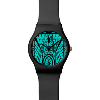 Deco Architectural Pattern, Turquoise and Black Wristwatch