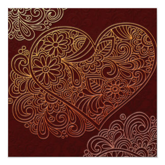 Deco Art Brown Heart Wedding Invitation