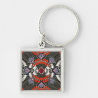 deco beams Silver-Colored square key ring