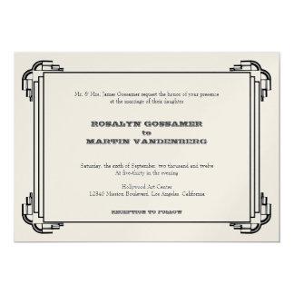 Deco black frame glamor chic retro vintage wedding 13 cm x 18 cm invitation card