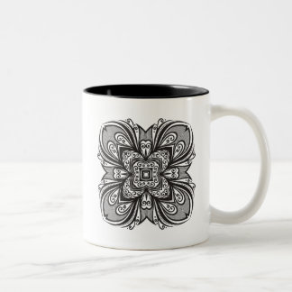 Deco Black Square Inspired Two-Tone Coffee Mug