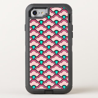 Deco Chinese Scallops, Coral Pink and Turquoise OtterBox Defender iPhone 7 Case