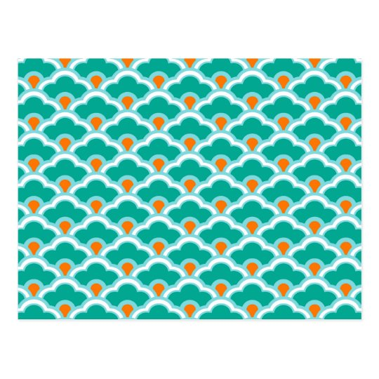 Deco Chinese Scallops, Coral Pink and Turquoise Postcard