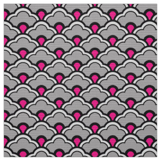 Deco Chinese Scallops, Grey / Gray, Black and Pink Fabric