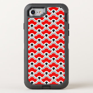 Deco Chinese Scallops, Red, Grey, Black and White OtterBox Defender iPhone 8/7 Case