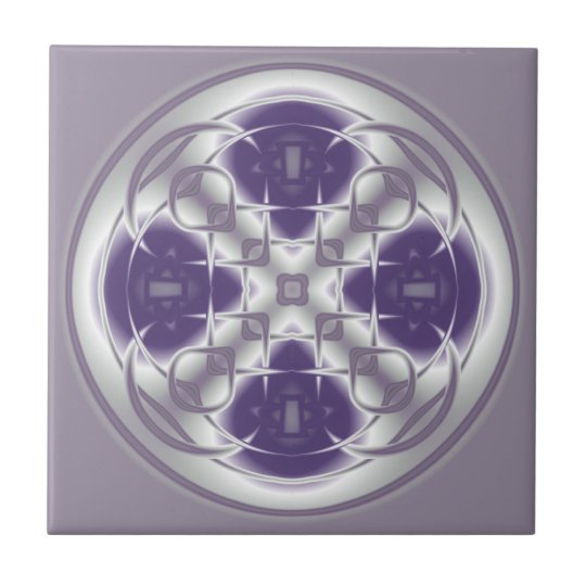 Deco Circle Abstract Purple and Grey Ceramic Tile