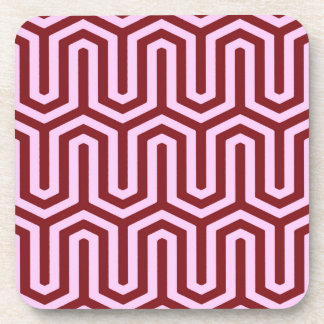 Deco Egyptian motif - burgundy and pink Coaster