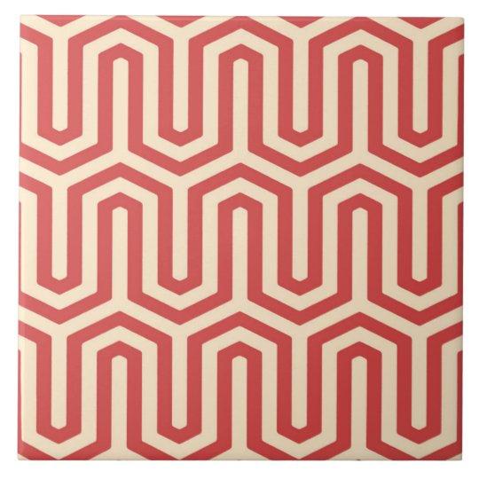 Deco Egyptian motif - coral orange Large Square Tile