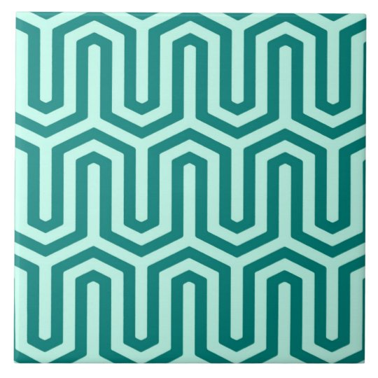 Deco Egyptian motif - turquoise and aqua Tile
