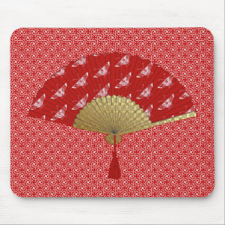 Deco Fan -  Butterflies, Dark Red and White Mouse Mat