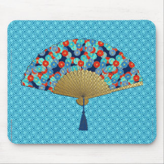 Deco Fan -  Flowers in Cobalt, Turquoise and Red Mouse Mat