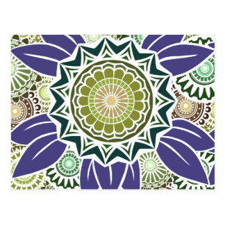 Deco Fandango in Green and Grape Post Cards