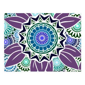 Deco Fandango in Purple and Blue Postcards