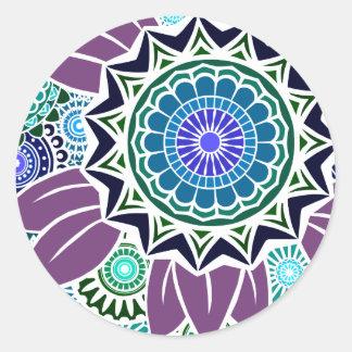 Deco Fandango in Purple and Blue Round Sticker