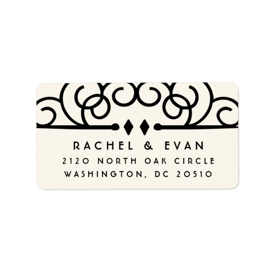 Deco Flourish Oversized Return Address | Ivory Label