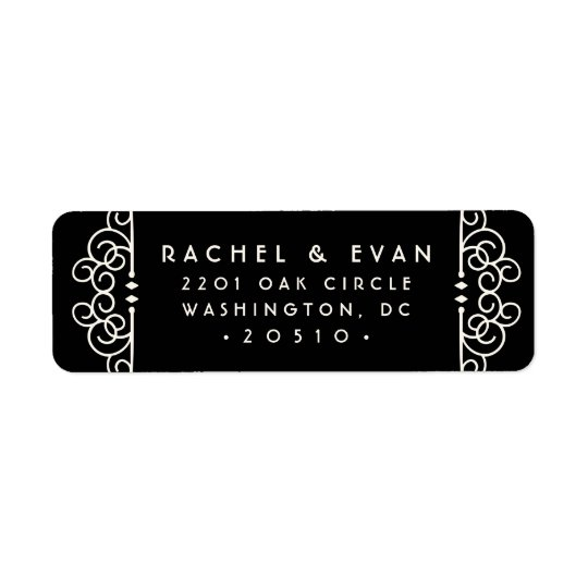 Deco Flourish Return Address Label | Black