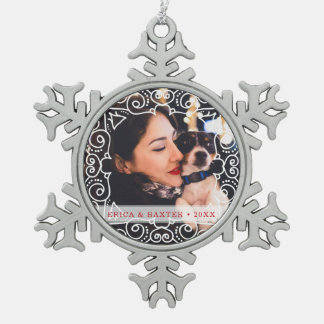 Deco Frame Photo Snowflake Pewter Christmas Ornament