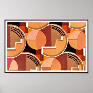 Deco Geometric in Oranges Poster