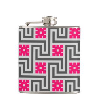 Deco Greek Key, Grey / Gray and Fuchsia Pink Hip Flask