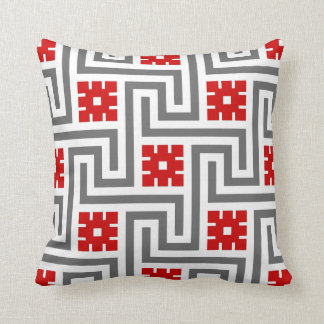 Deco Greek Key, Red, White and Grey / Gray Throw Pillow
