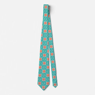 Deco Greek Key, Turquoise, Aqua and Coral Tie