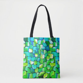 Deco green pattern tote bag